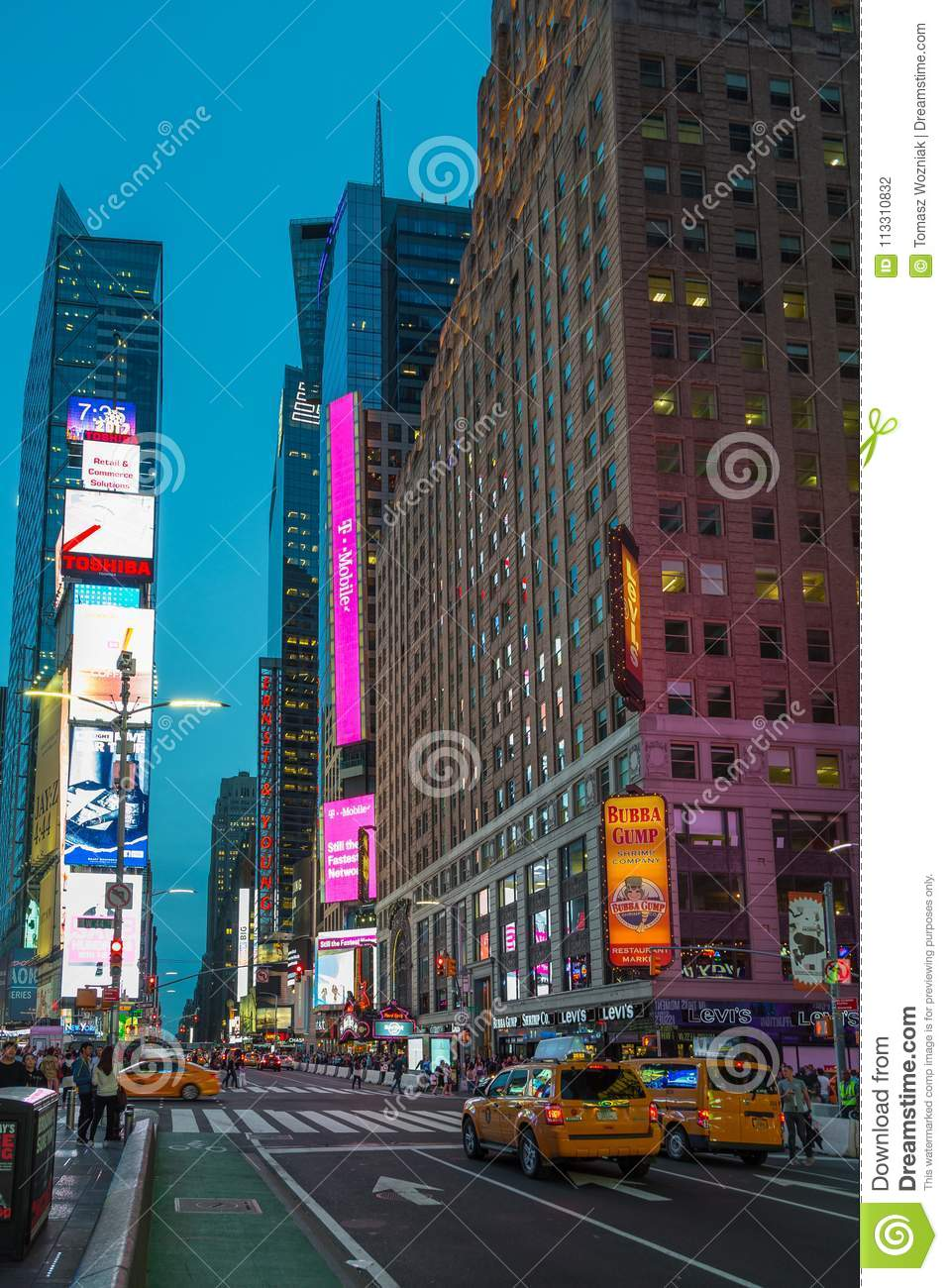 9d1c706c5ca7 People And Cars At Times Square At Night . Editorial Photography ...
