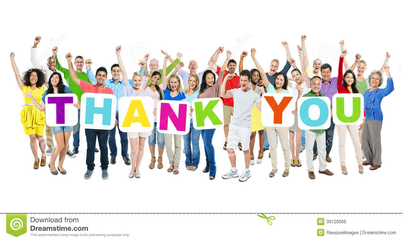 people celebrating and holding word thank you stock photo