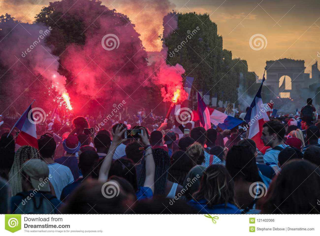 People Celebrating Victory On The Champs Elysees Avenue In ...
