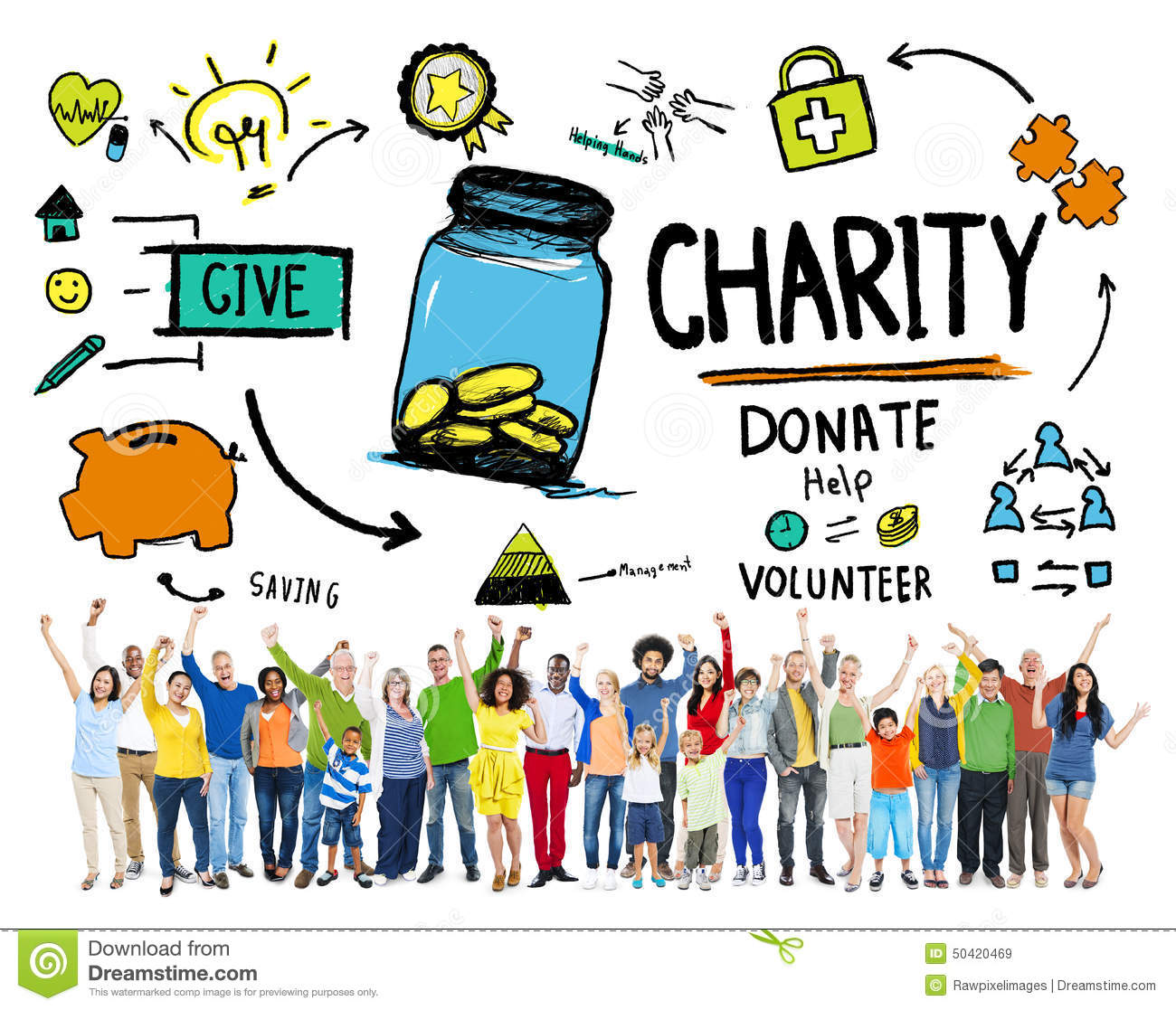 People Celebration Give Help Donate Charity Concept Stock ... Raising Hope