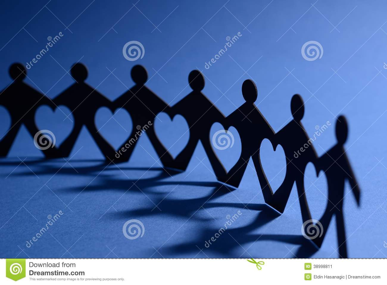 People In Chain With Heart Between Stock Photo - Image ...