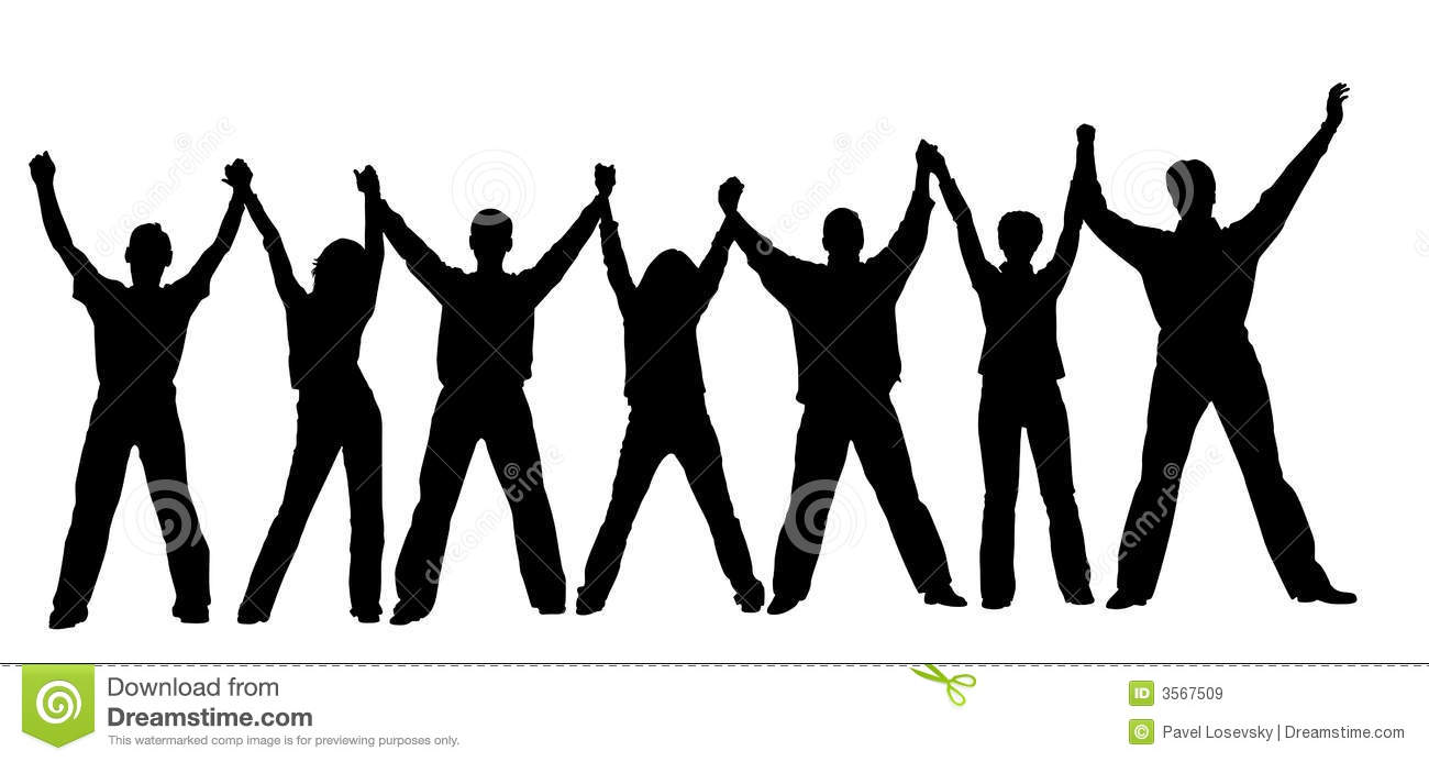 People Chain Silhouette Stock Vector. Illustration Of