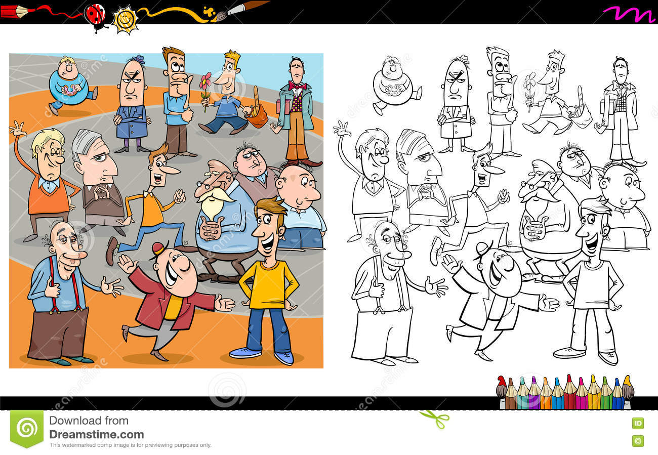 People Characters Coloring Book Stock Vector Illustration