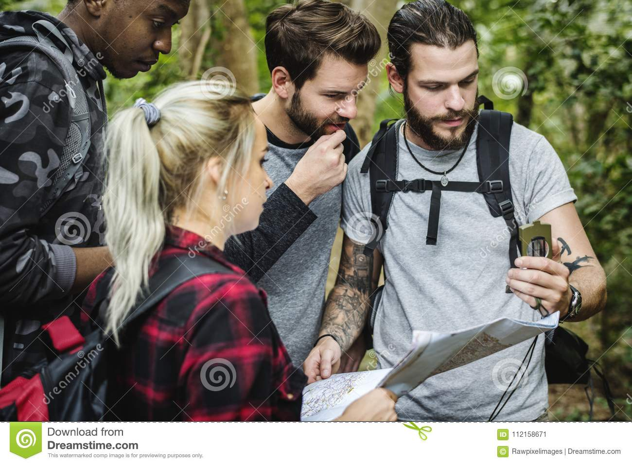 People checking map for the direction