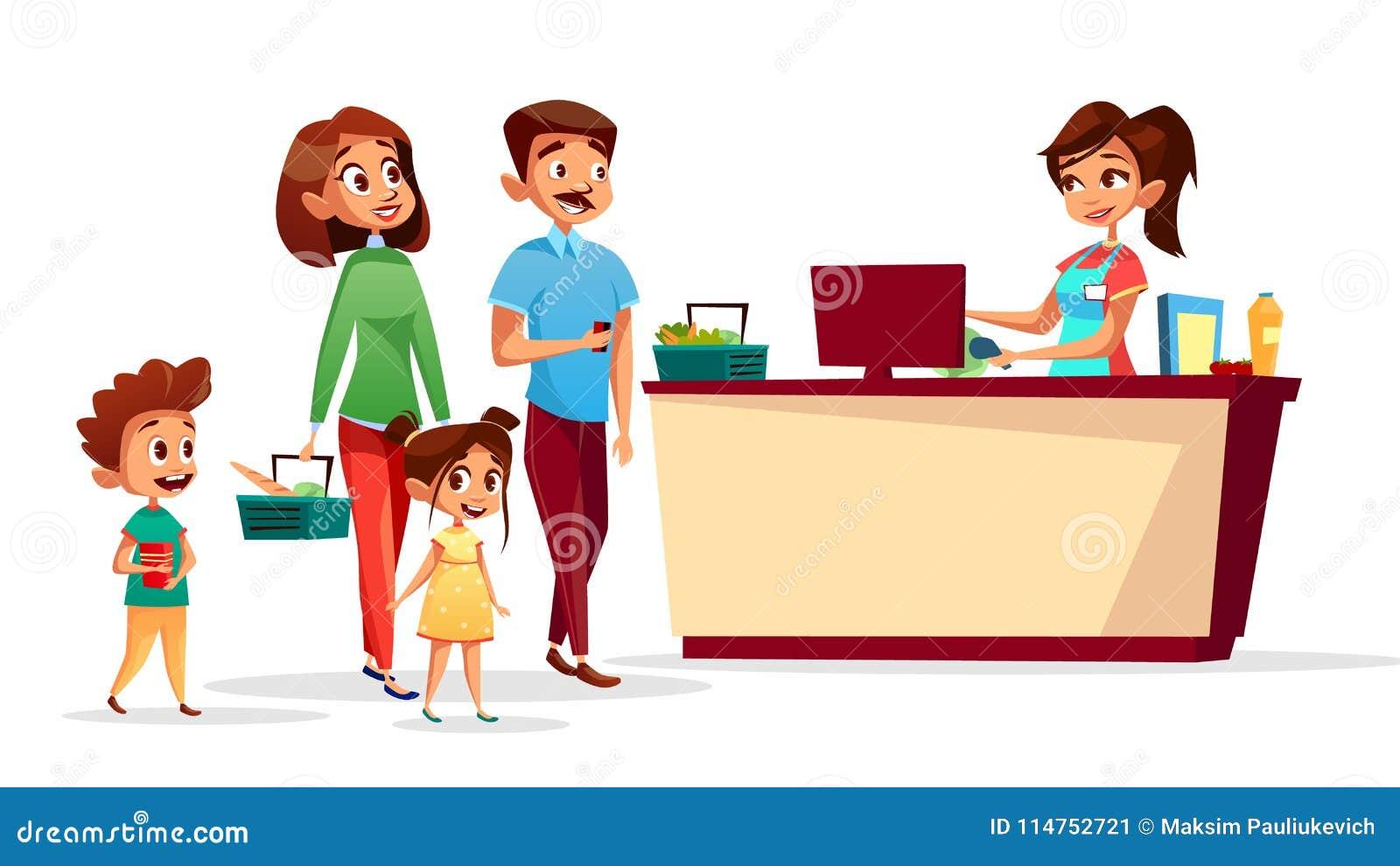 Cashier Cartoons: People At Supermarket Checkout Counter Vector Cartoon