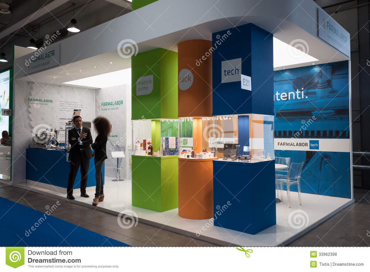 Exhibition Stand Vector : People at chem med the mediterranean chemical event in
