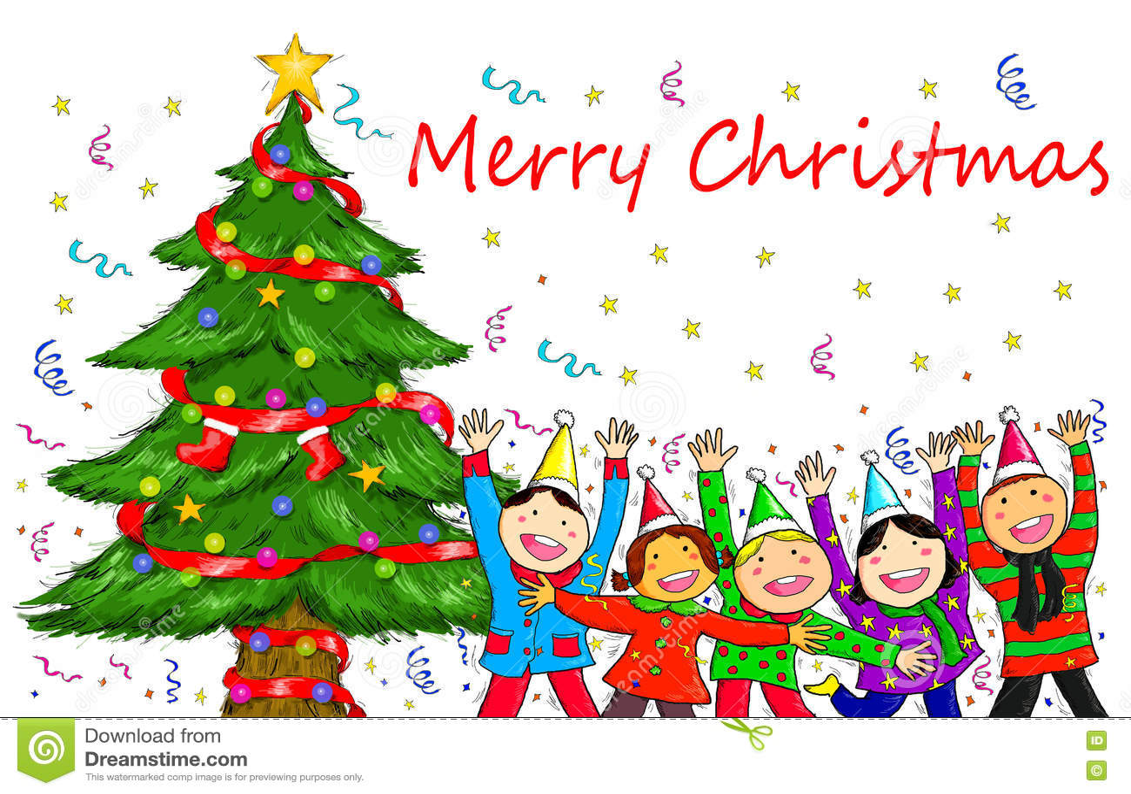 Christmas Celebration Images For Drawing.People Christmas Tree Holiday Celebration Stock Illustration