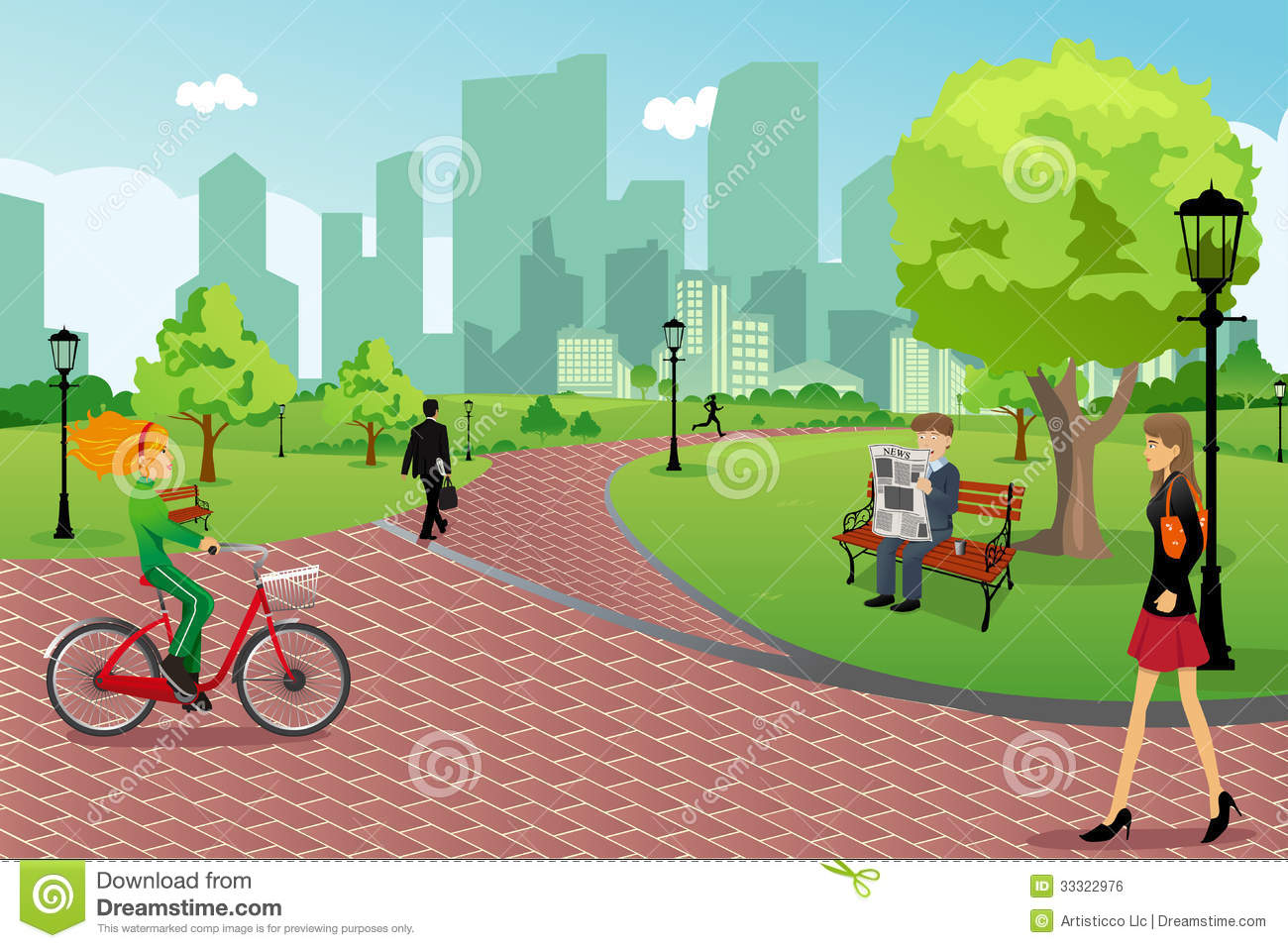 vector illustration of young modern trendy people in a city park ...