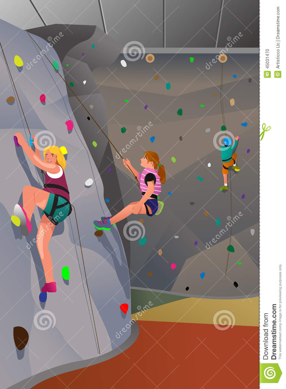people climbing indoor wall stock vector image 45031470