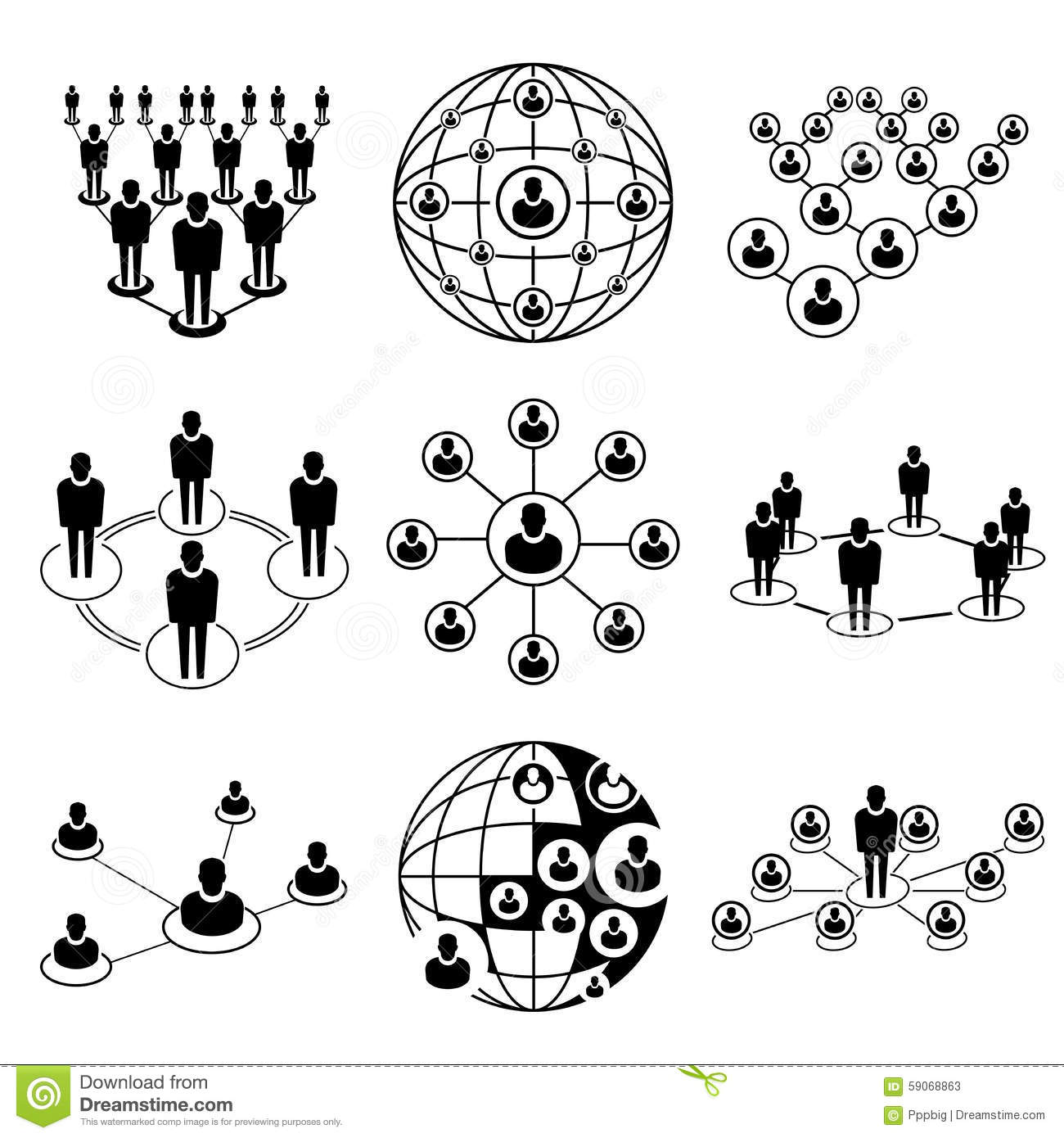 business people connecting    networking icons cartoon vector