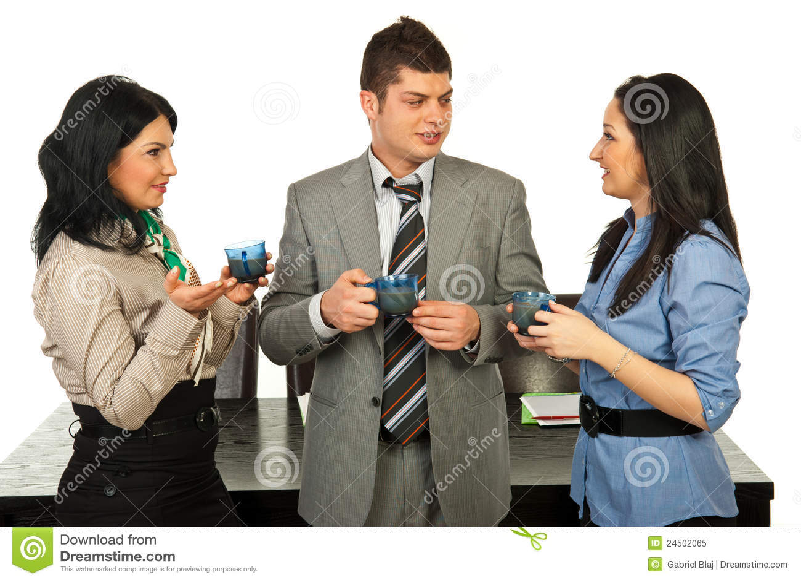 People Conversation In Coffee Break Royalty Free Stock ...