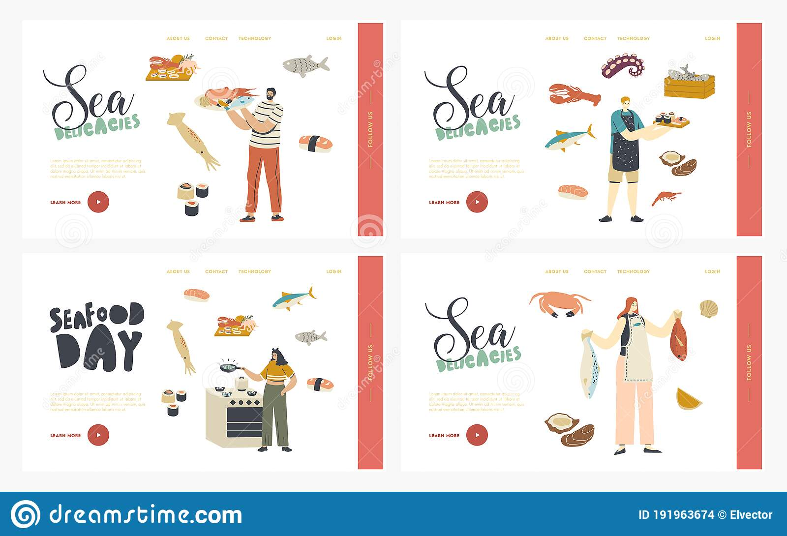 People Cooking Seafood Landing Page ...