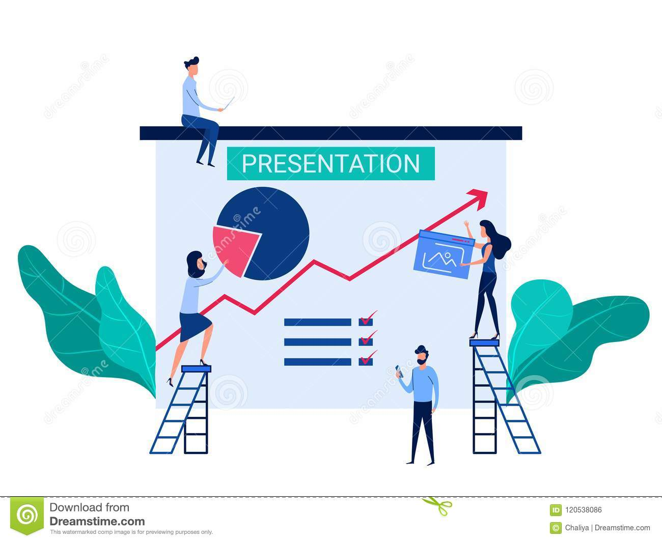 people cooperation prepare business presentation and online training