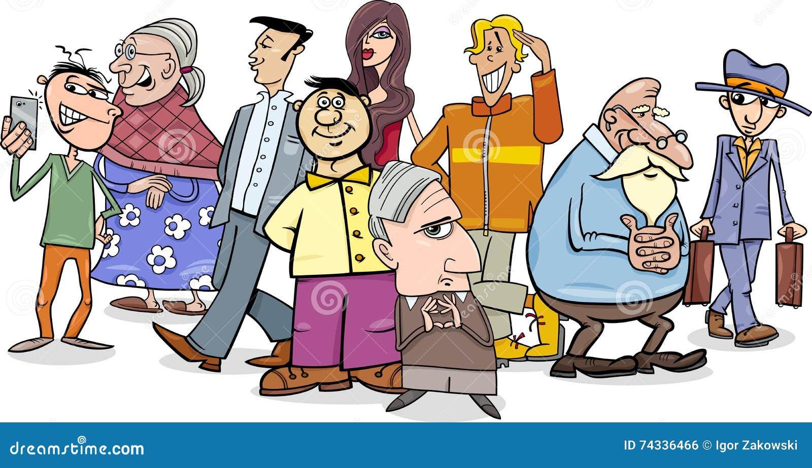 Group Of 6 Cartoon Characters : People crowd cartoon stock vector image