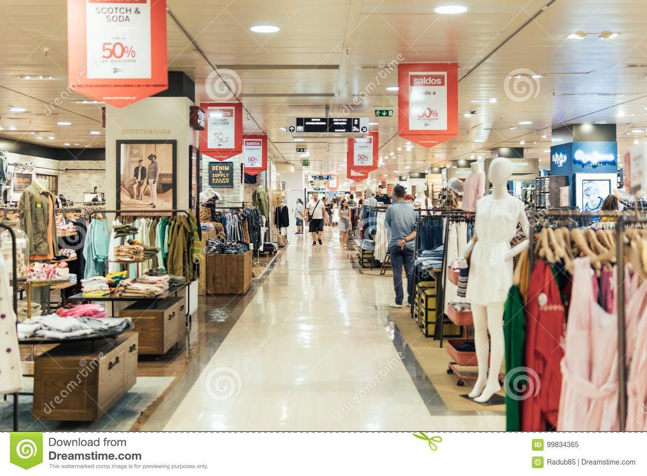 cfaf7206c7a3 People Crowd Rush For Summer Sale In Shopping Luxury Mall Interior ...