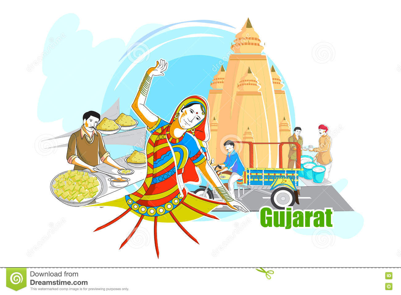 d80421ded2 Easy to edit vector illustration of people and culture of Gujarat, India