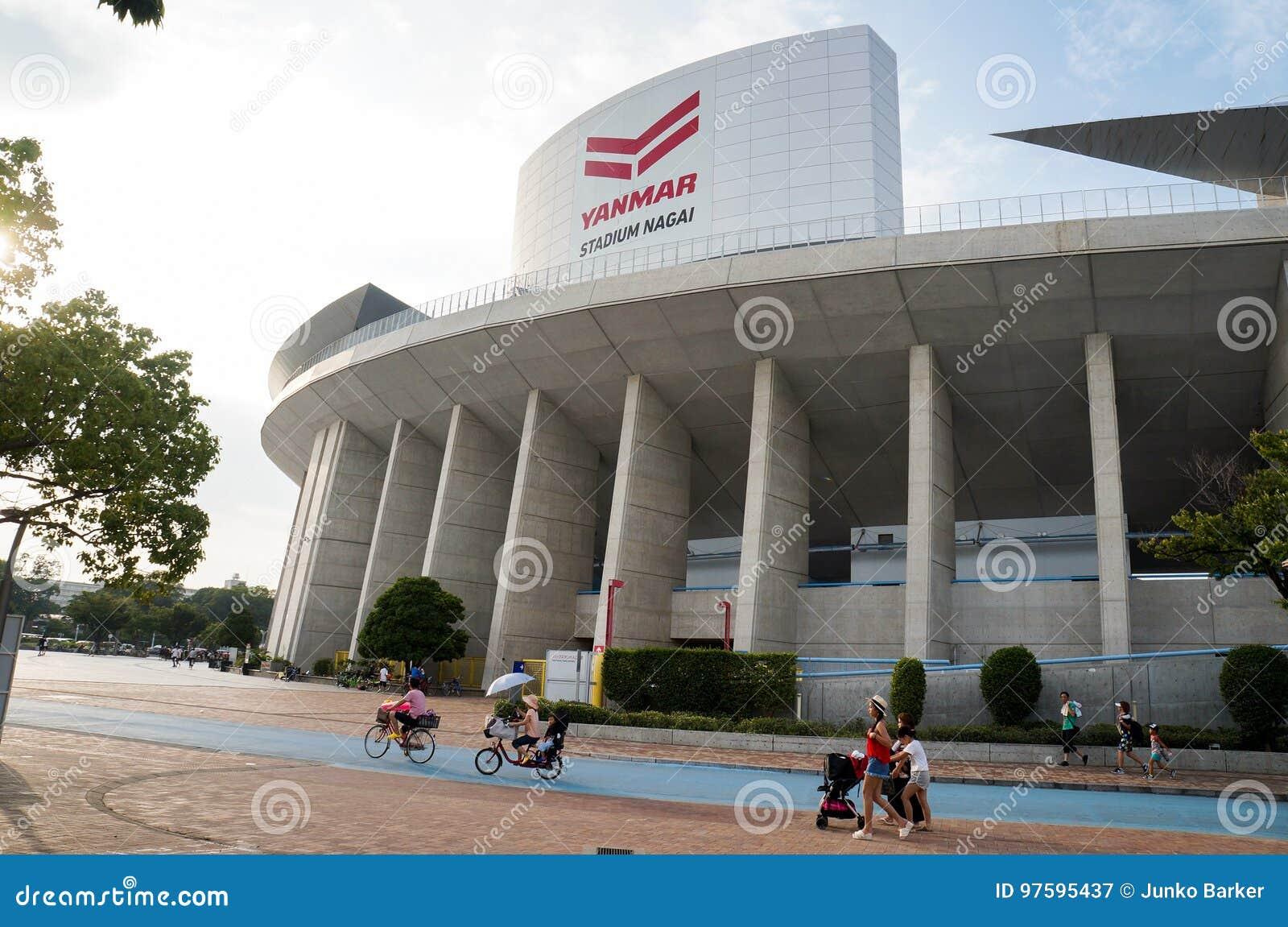 People Cycling, Walking Around Yanmar Stadium Nagai, Osaka