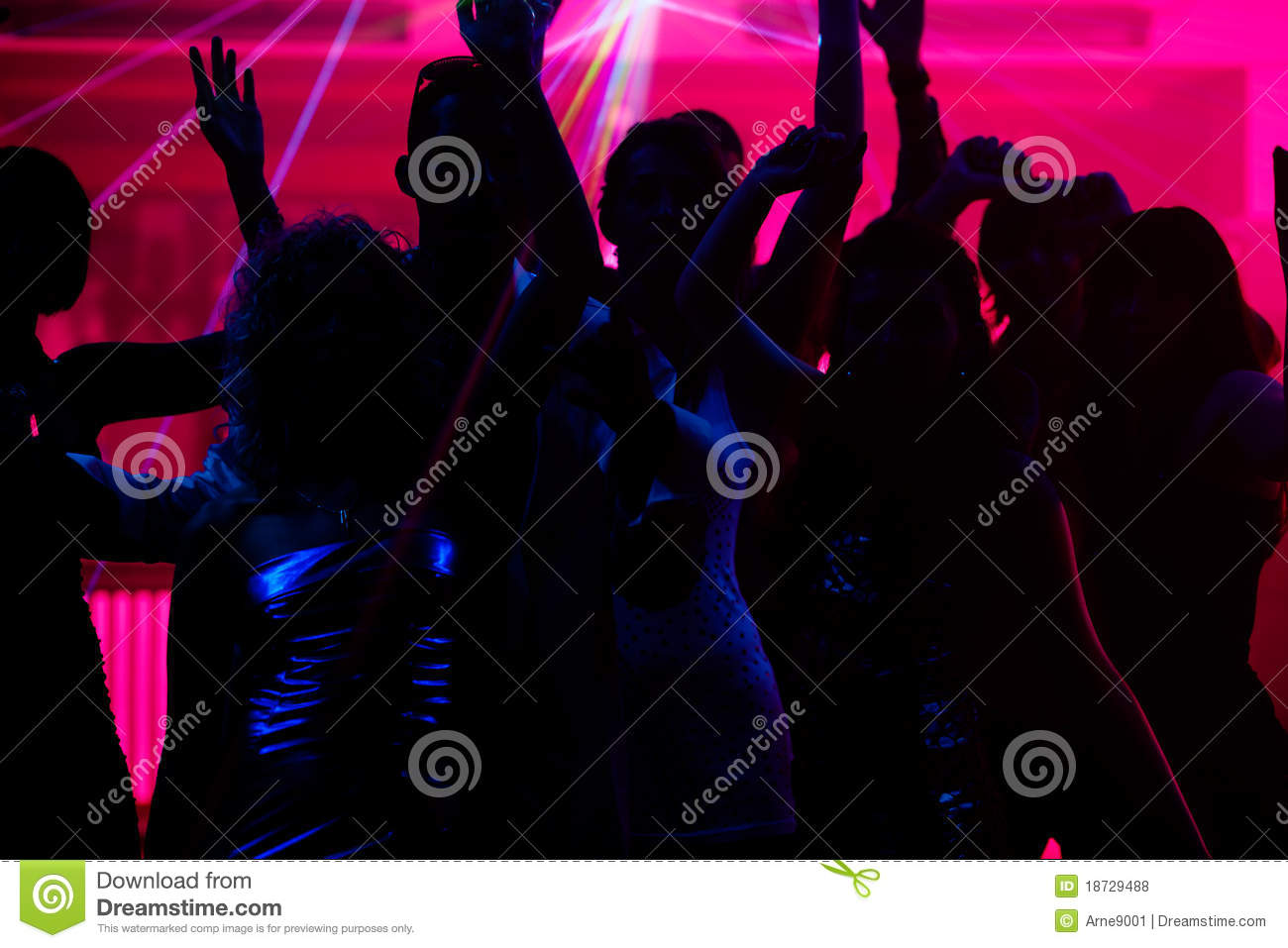 People Dancing In Club With Laser Royalty Free Stock