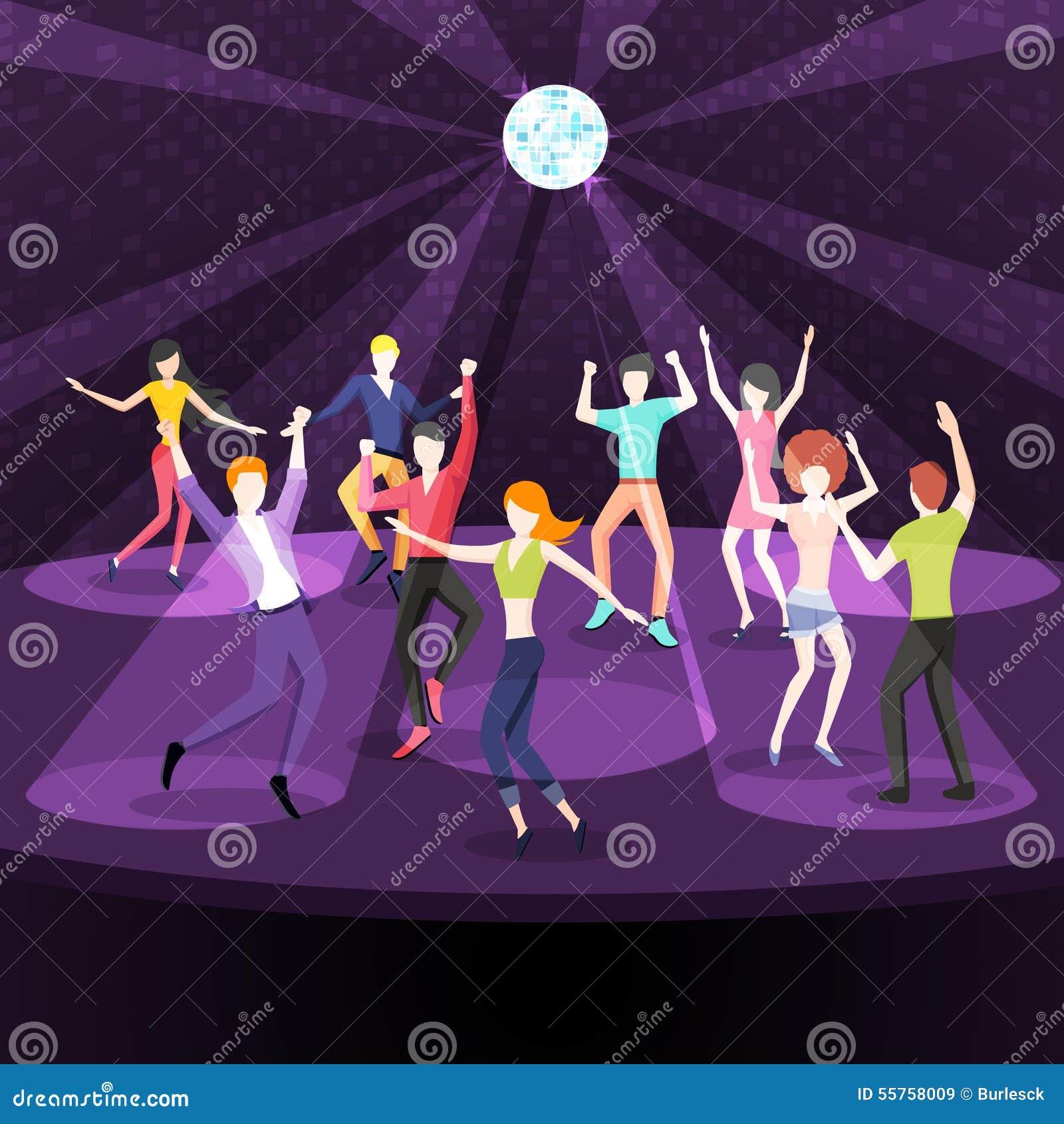 People dancing in nightclub dance floor flat stock vector for 123 get on the dance floor song download