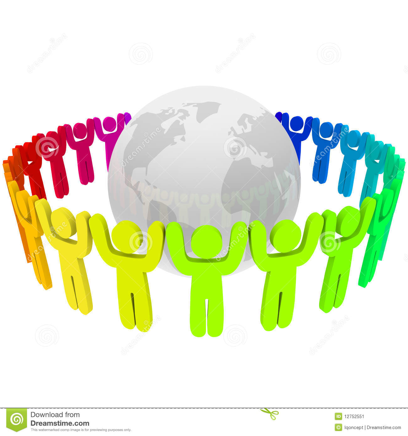 People Of Different Colors Around Earth Stock Image - Image: 12752551