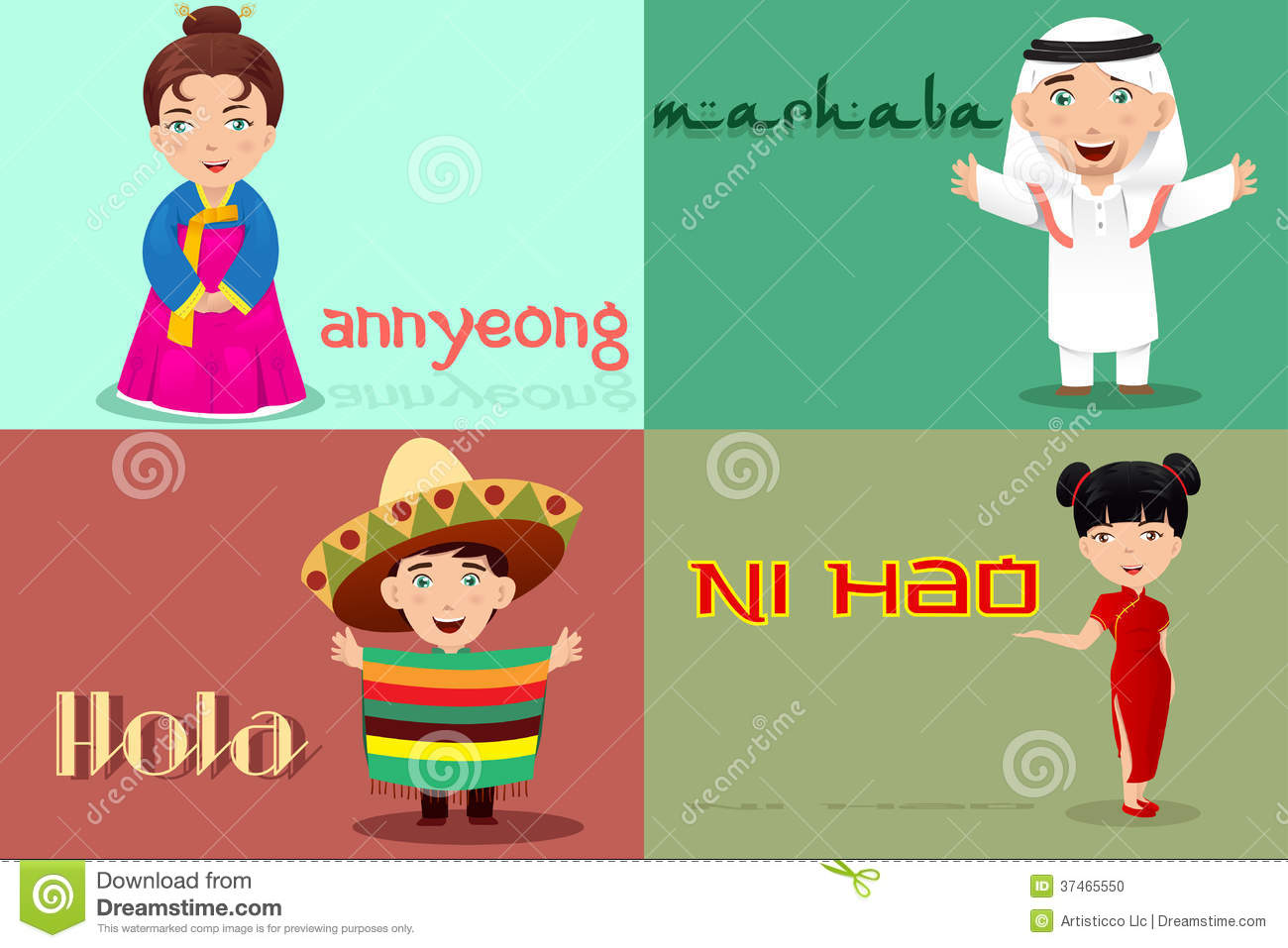 People from different cultures saying hello stock vector download people from different cultures saying hello stock vector illustration of mexican greeting m4hsunfo