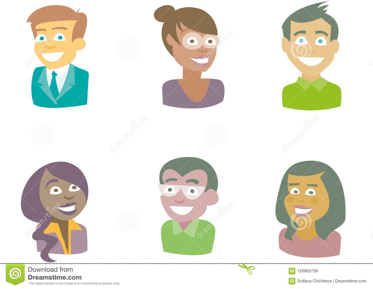 People of different races. Smiling. Bust.
