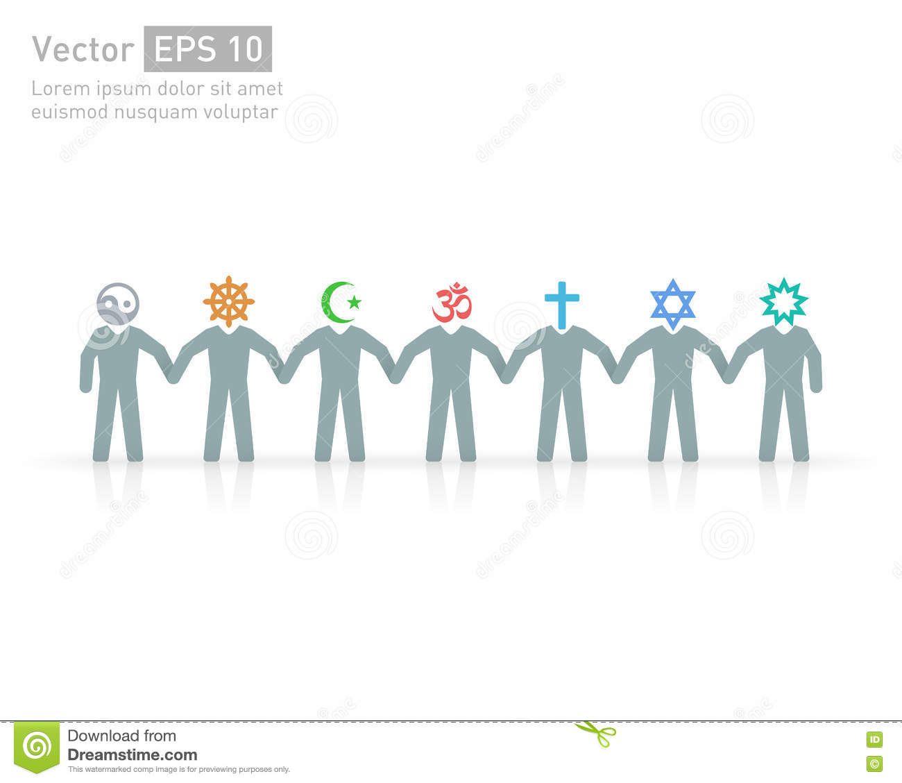 People Of Different Religions Religion Vector Symbols And