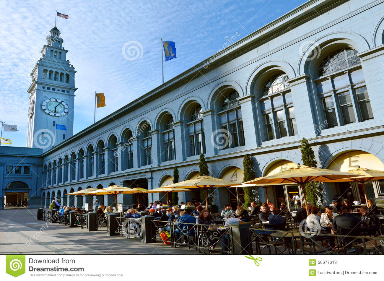 San Francisco May 21 2015people Dining In Restaurant In San Francisco Ferry Building Its Terminal Of San Francisco Bay Ferries And Food Hall Located On