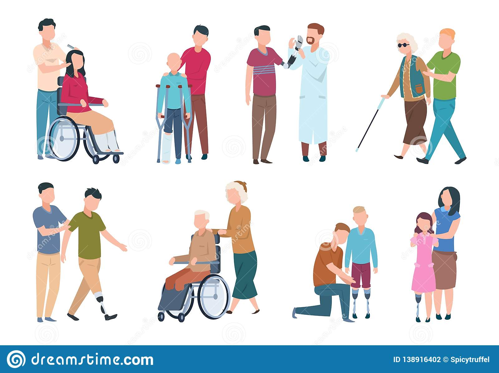 People with disabilities and friends. Disable persons in wheelchair with assistants. Happy disabled, handicapped