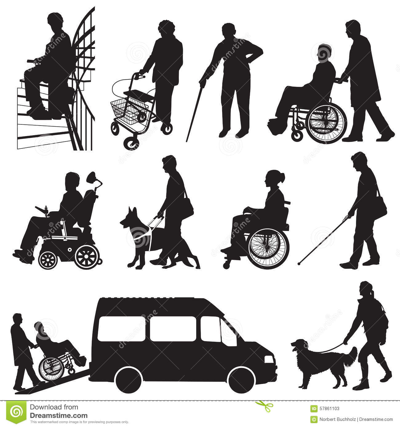 People with disabilities stock vector. Illustration of ...