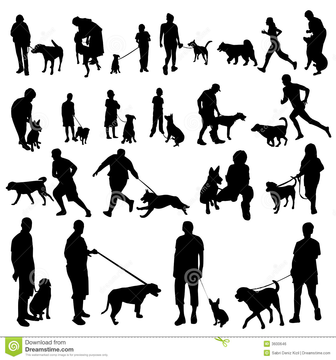 young couple walking dogs silhouette male models picture