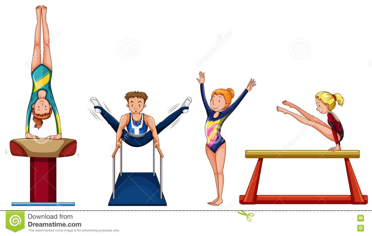 People Doing Gymnastics On Different Equipment Stock