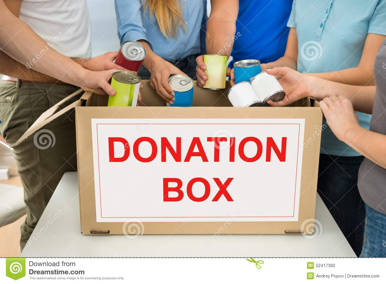 People With Donation Box Holding Cans Stock Photo - Image ...