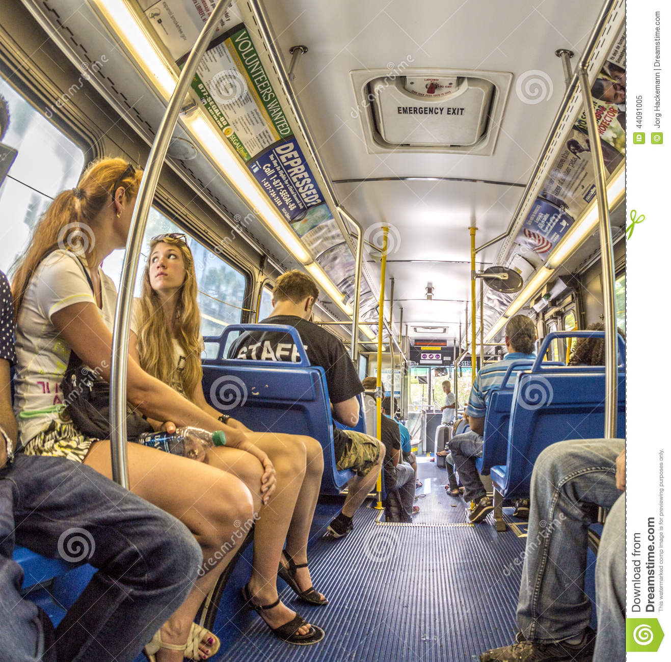 People In The Downtown Metro Bus In Miami Usa Editorial
