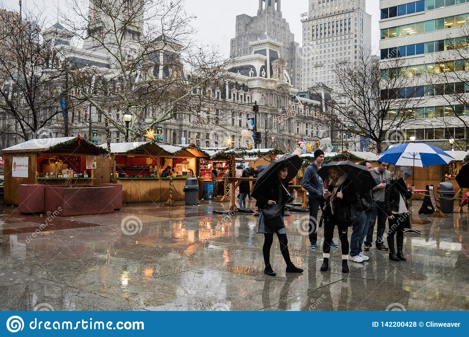 Christmas Village Love Park.People In Downtown Philadelphia Editorial Stock Photo