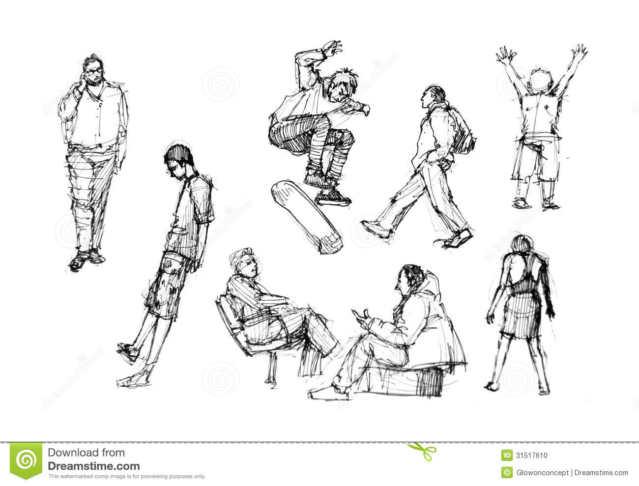 Line Drawing Activity : People drawing in action diversity stock illustration