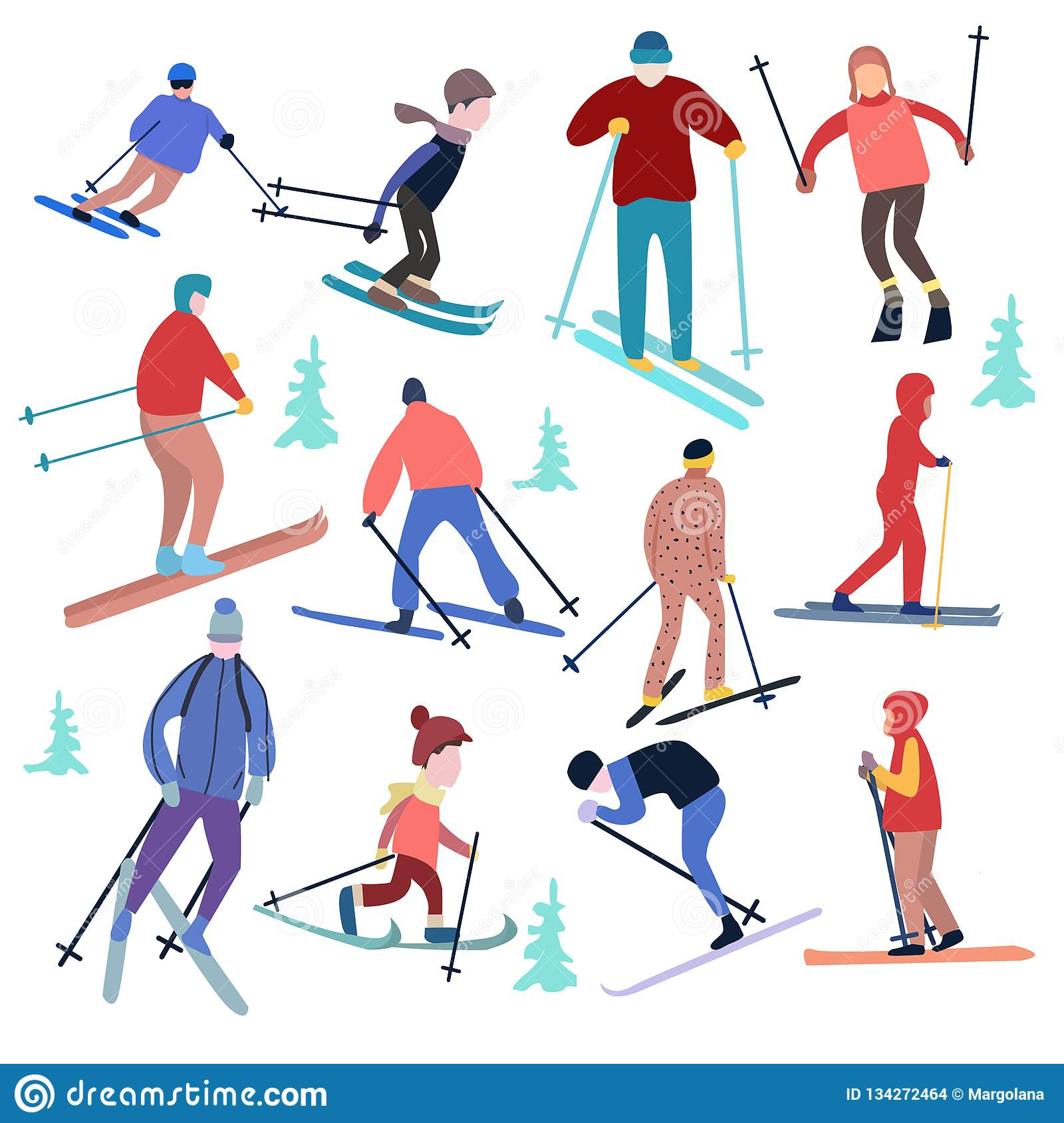 8e6b0d367e Vector illustration people dressed in winter clothing and skiing male and  female. Winter vacation concept. More similar stock illustrations