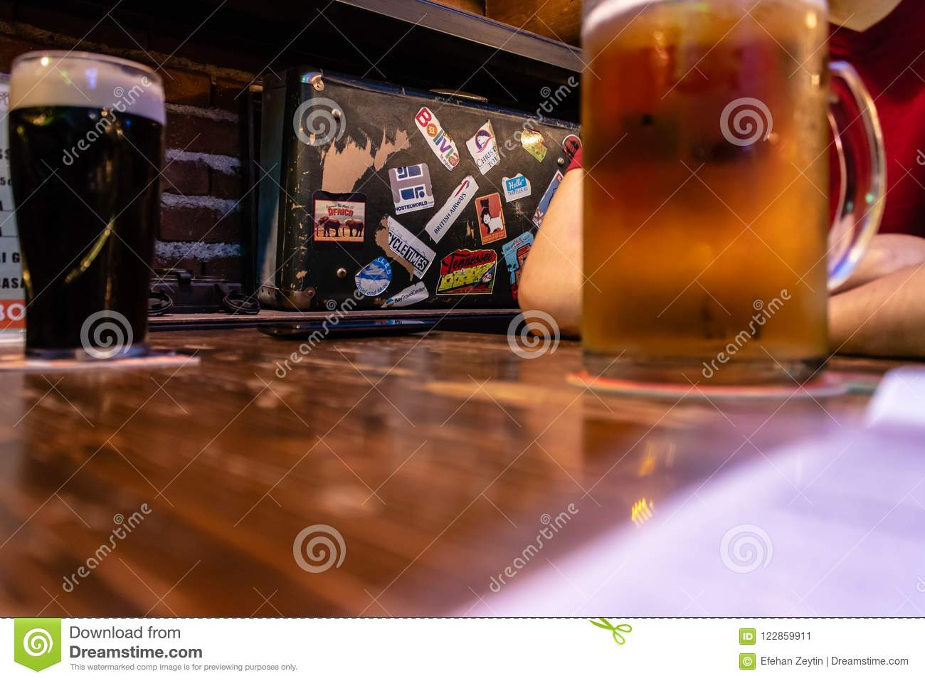People drinking beer with good ambiance