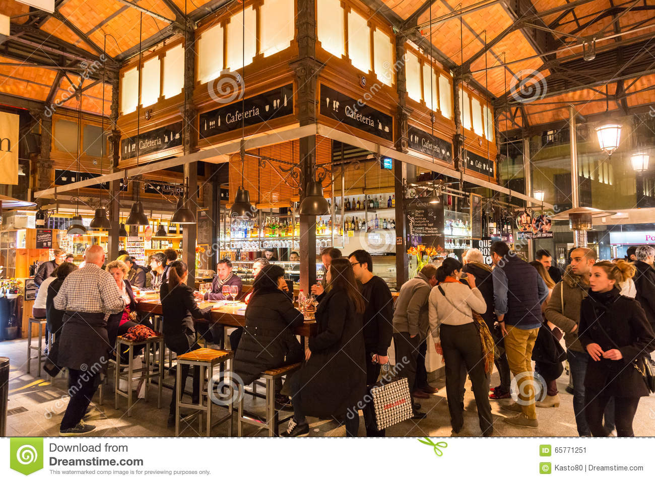 People Drinking And Eating At San Miguel Market, Madrid. Editorial Photo - Im...