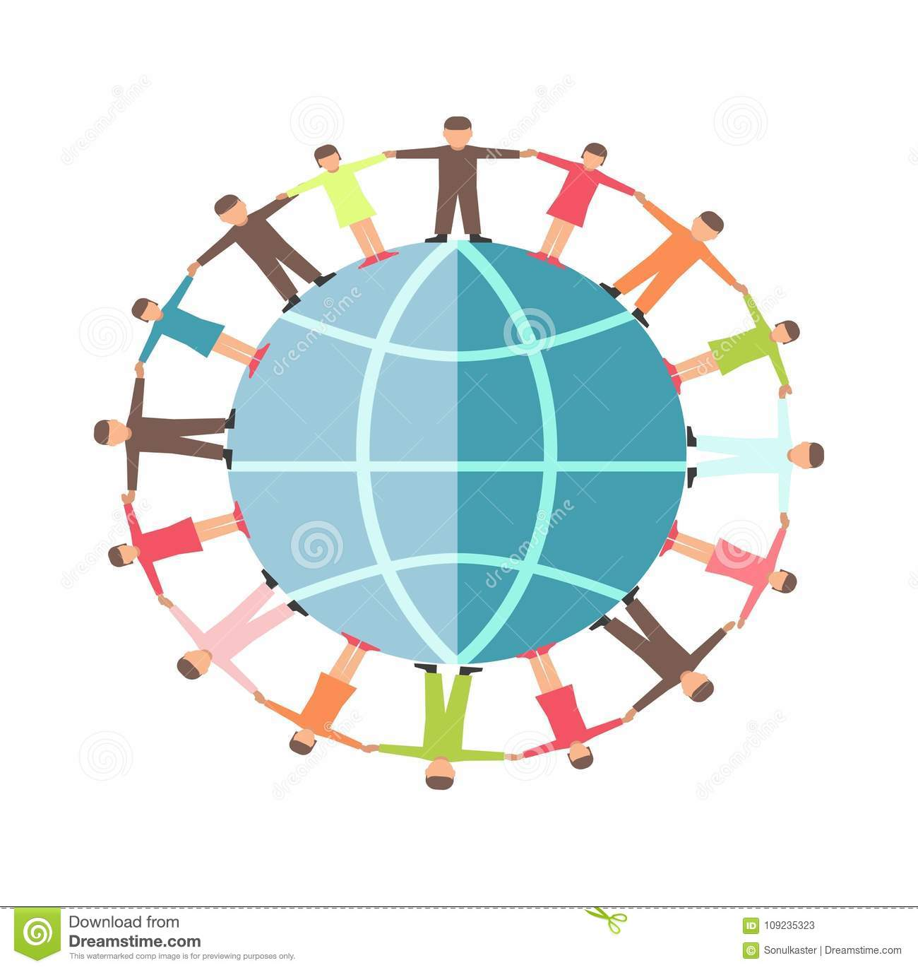 People on earth globe hand in hands symbol for charity and people hand in hand on earth planet icon for charity and donation social help concept vector flat design of helping hands for human care and protection biocorpaavc
