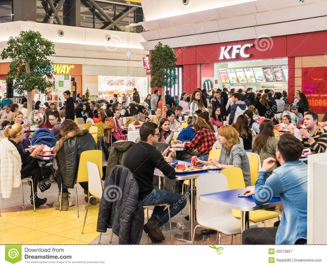 People In Fast Food Restaurant Editorial Image