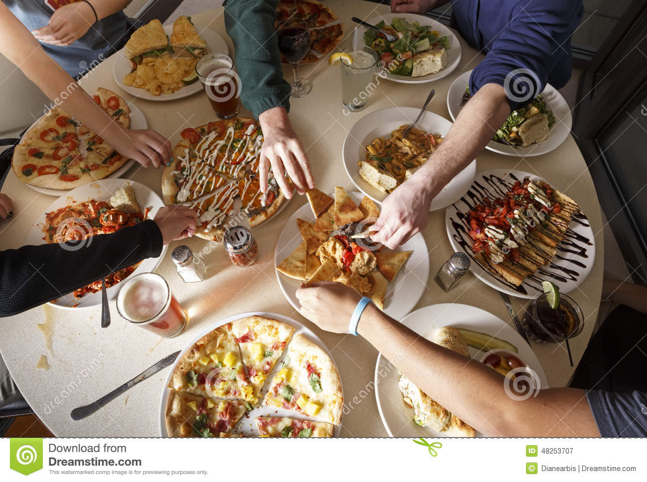 People Eating Food Stock Image Image Of Pizza Drinks 48253707