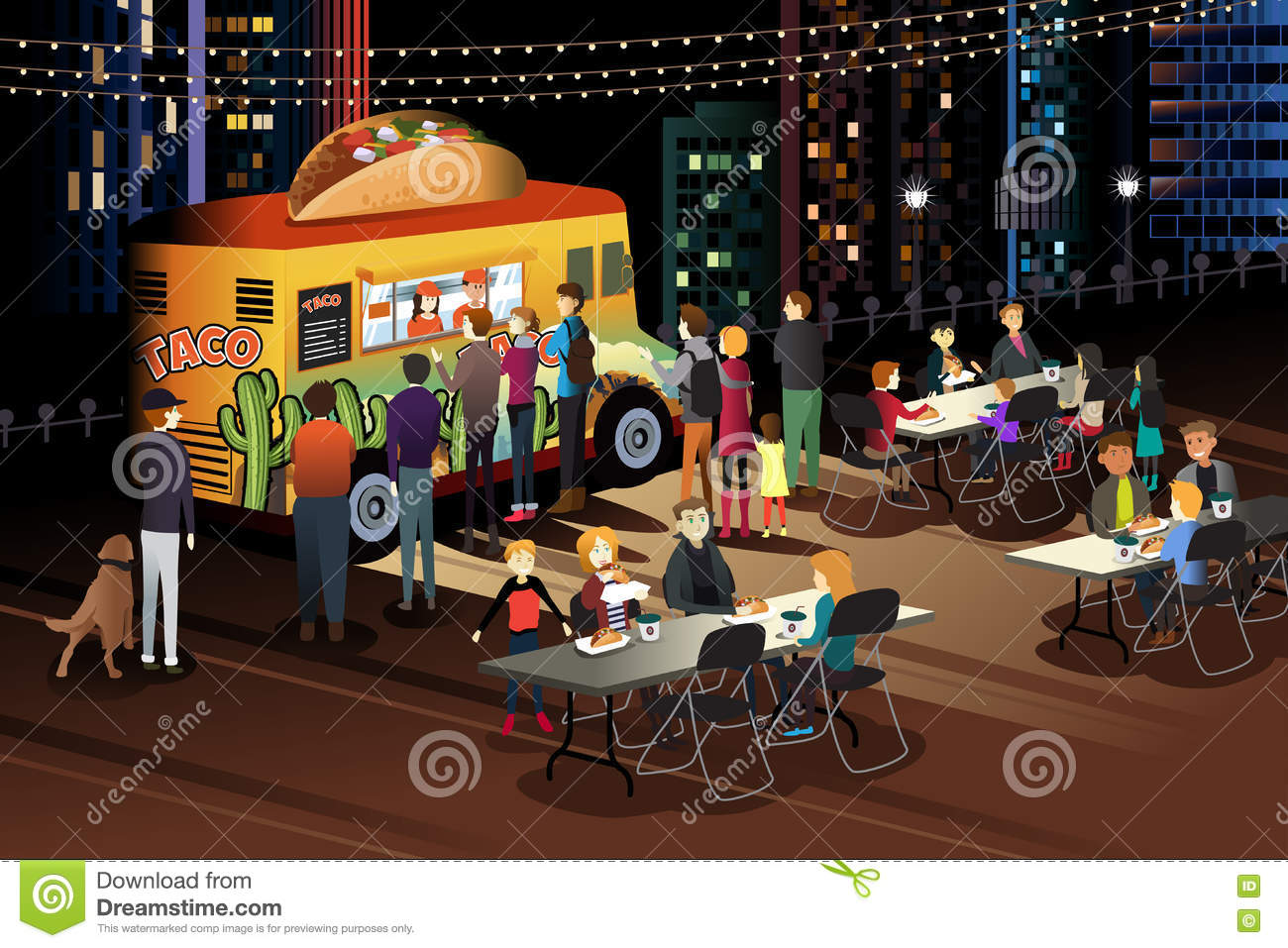 Customer Eating From Food Truck