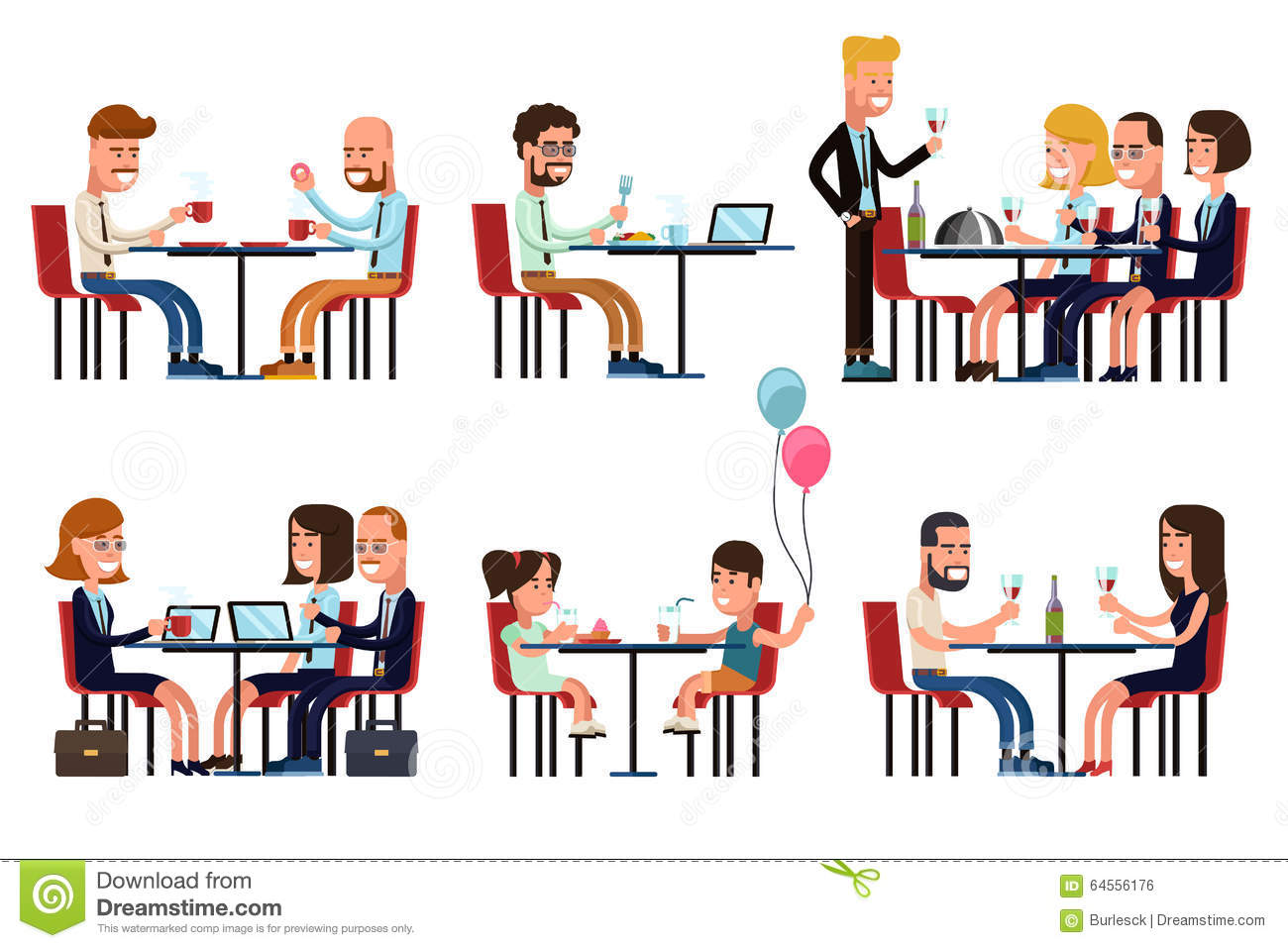 People Eating And Talking In Restaurant Or Coffee Stock