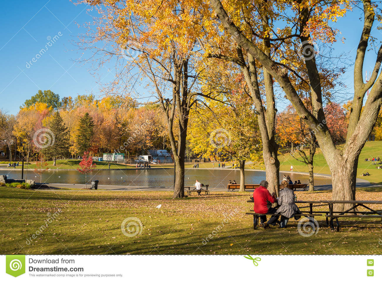 People enjoy a warm autumn day in Montreal