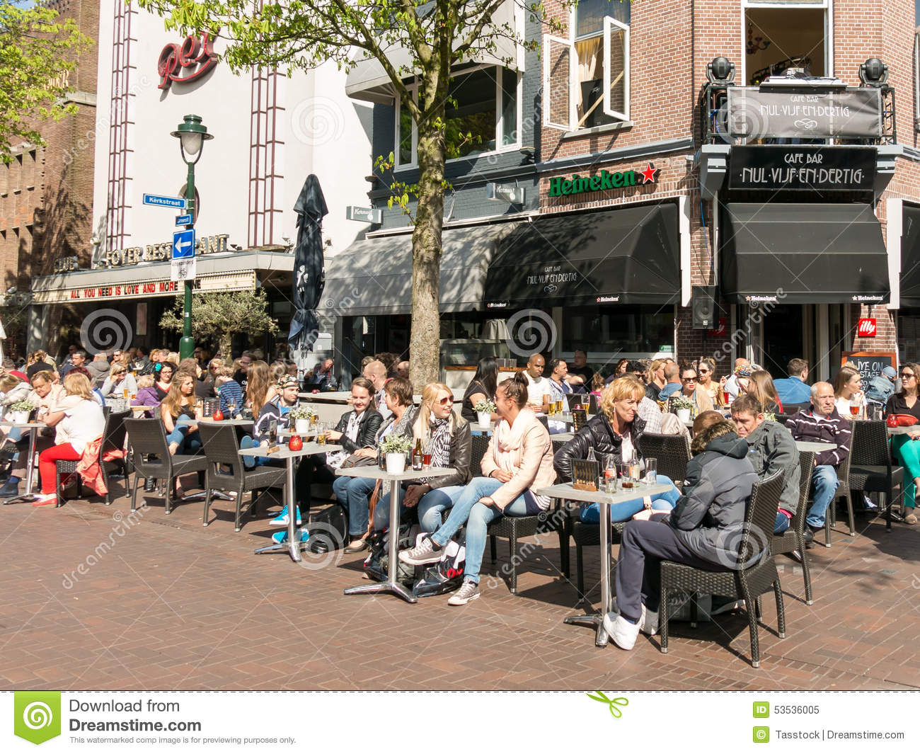 People having drinks on outdoor terrace of cafe holland for The terrace cafe bar