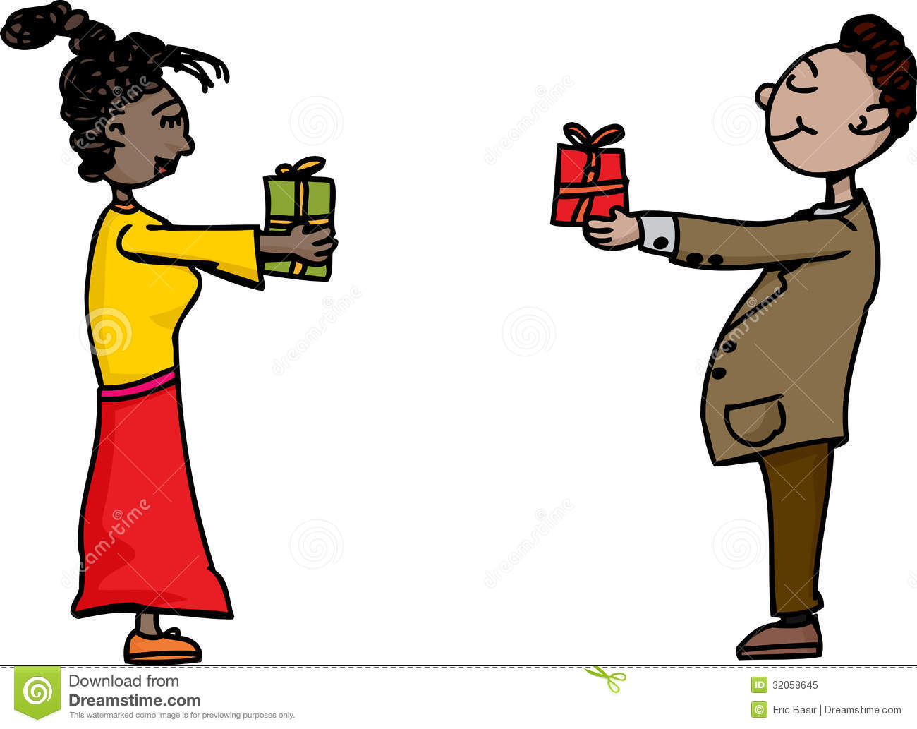 people exchanging gifts royalty free stock photo   image