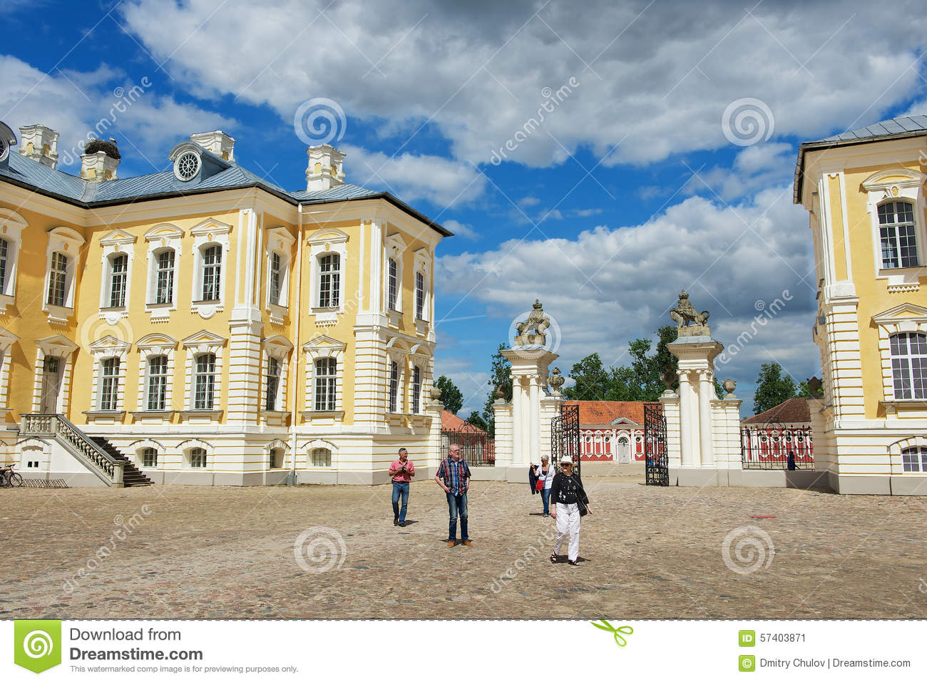 People explore Rundale palace in Pilsrundale, Latvia.
