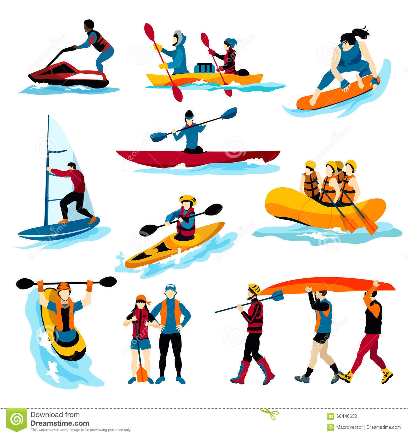 People In Extreme Water Sports Color Icons Stock Vector ...