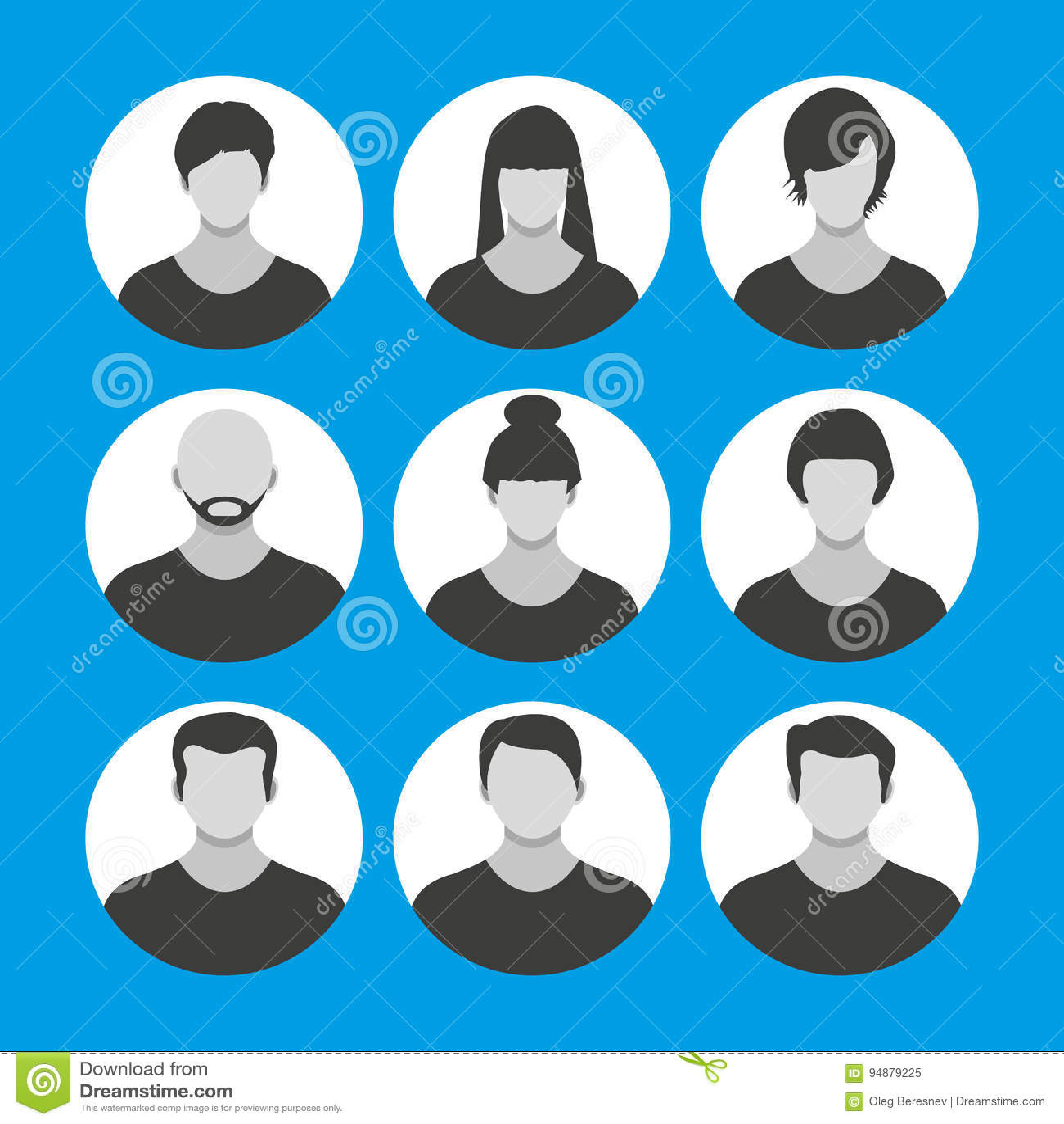 black bald cartoon character people face, avatar icon, cartoon character stock vector